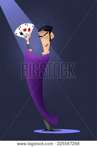 Man Character Magician Hold Pocker Playing Cards And Shows Focus. Cartoon Vector Illustration