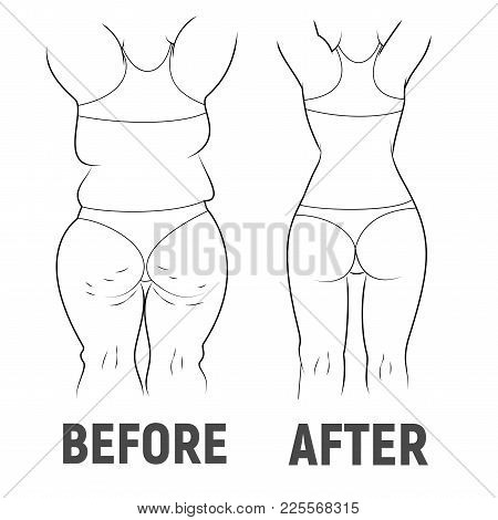 The Result Before And After Sport. Fat And Thin Female. Measuring Tape Vector Illustration. Black An