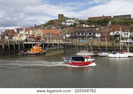 Whitby Fishing Village Summer North Yorkshire England Uk