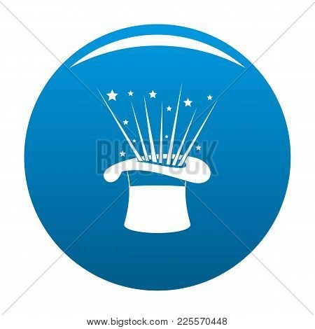 Hat And Firework Icon Vector Blue Circle Isolated On White Background