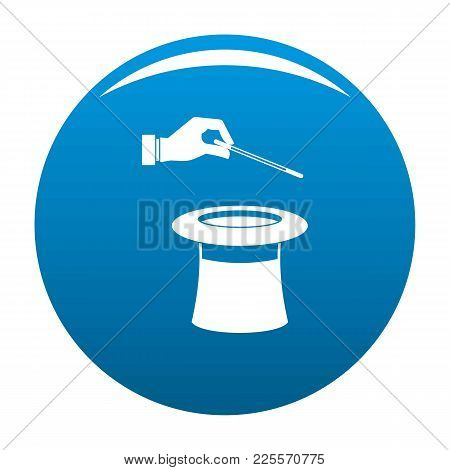 Hat With Hand Icon Vector Blue Circle Isolated On White Background