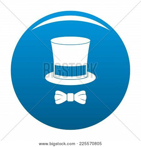 Hat With Butterfly Icon Vector Blue Circle Isolated On White Background