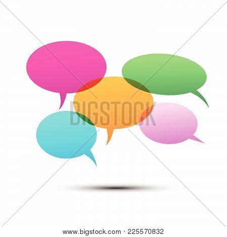 Vector Of Stickers Of Speech Bubbles With Head Of People. Blank Empty Speech Bubbles.