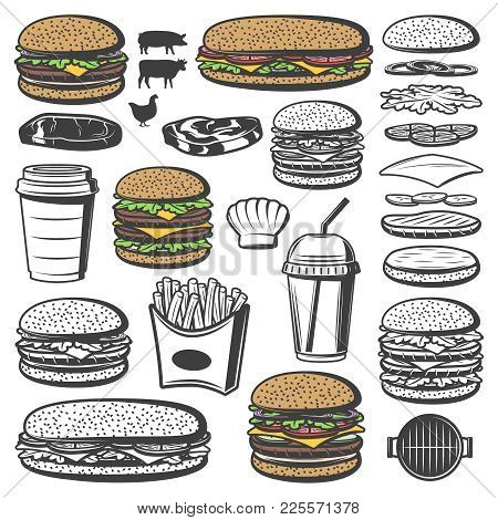 Vintage Burger Elements Set With Hamburger Sandwich French Fries Soda Bun Salad Meat Cheese Tomato C