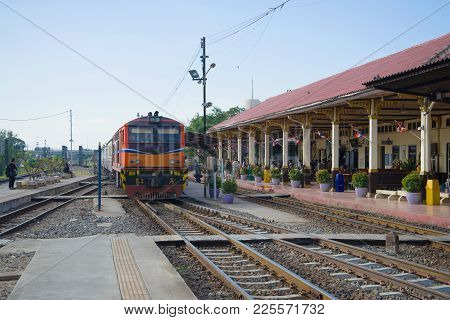 Ayutthaya, Thailand - January 02, 2017: A Passenger Train Arrives On The Railway Station Of The City