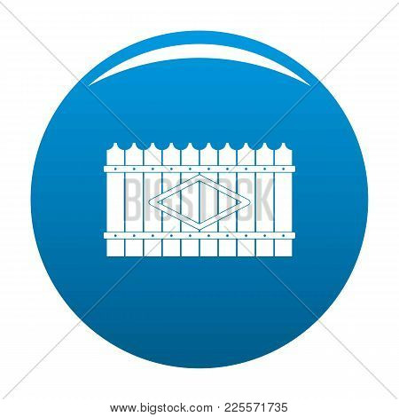 Wooden Peak Fence Icon Vector Blue Circle Isolated On White Background