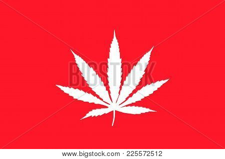 White Cannabis Leaf On Red Background, Flag, Flat Icon. Vector Illustration Of A Symbol Of Medical M