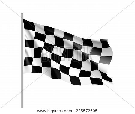 Flag Auto Racing, Waving Realistic Banner. Symbol Of Start And Finish Of Race Cars On Route. Vector