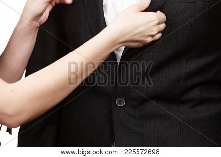 Party And Celebration Time. Young Enamoured Couple Prepare To Celebrate Anniversary. Woman Helping M