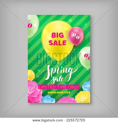 Spring Sale Banner. Handrawn Inscription Spring Sale. Season Sale, Limited In Time Offer. Vector Ill