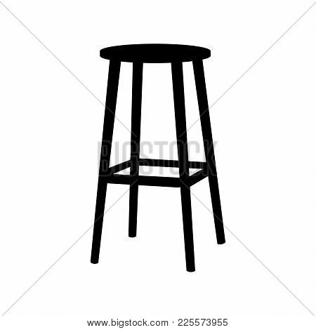 Chair Symbol On White Background.bar Stool Icon Element In Trendy Style. Flat Illustration
