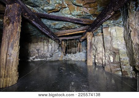 Underground abandoned ore mine shaft tunnel gallery
