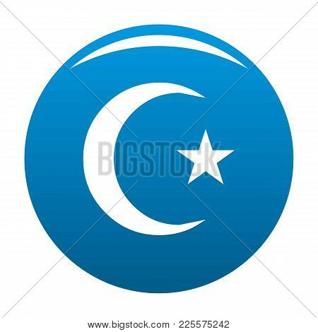 Islamic Crescent Moon Icon Vector Blue Circle Isolated On White Background
