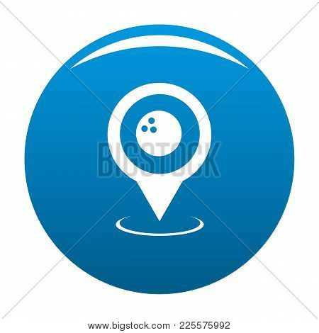 Bowling Map Pointer Icon Vector Blue Circle Isolated On White Background