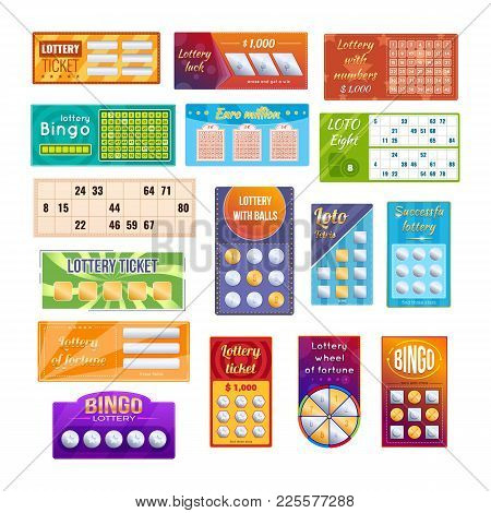 Set Of Different Types Of Lottery Tickets For Drawing Money, Prizes. Tickets For Event, Financial Su