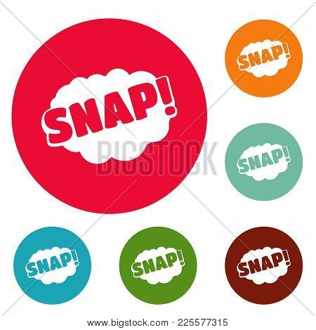 Comic Boom Snap Icons Circle Set Vector Isolated On White Background