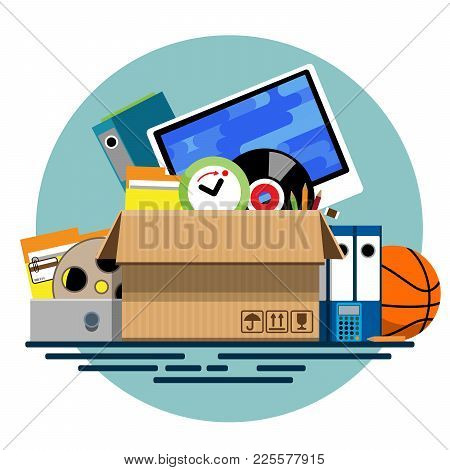 Illustration Of A Cardboard Box With Old Things In A Flat Style. Box With Old Stuff Vector. Monitor,