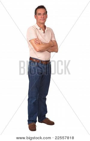 Full Length Portrait of Smiling Man