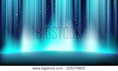 Empty Blue Stage With A Dark Background, Illuminated By A Bright Spotlight, A Place Surrounded By A