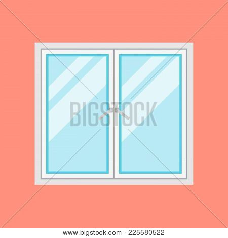 Traditional White Window Frame Isolated On Orange Background. Closed Flat Window Element Of Architec