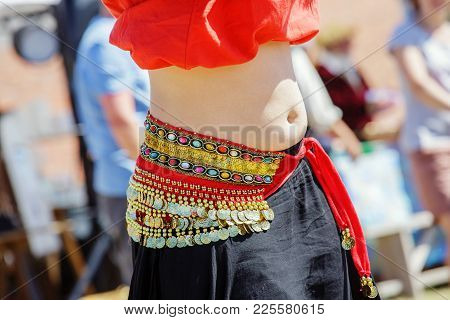 Close Up Shot Of A Belly Dancer Wearing Typical Arabic Costume