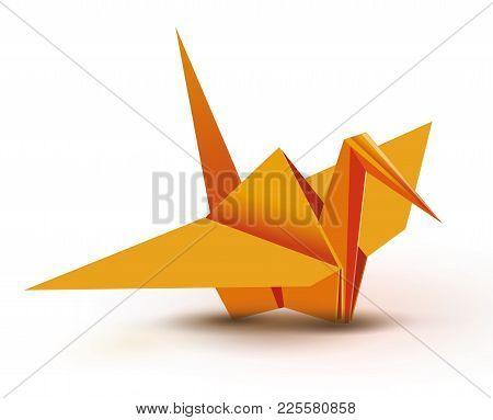 Origami. Origami Crane. Orange Origami Crane. Orange Paper Origami Crane. Paper Crane. Vector Illust