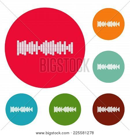 Equalizer Sound Icons Circle Set Vector Isolated On White Background