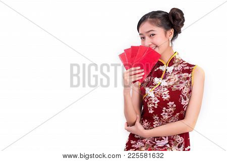 Young Asian Beauty Woman Wearing Cheongsam And Holding Packet Of Moneys Gesture In Chinese New Year