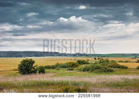 Summer Or Autumn Landscape With Thunderclouds, Open Countryside