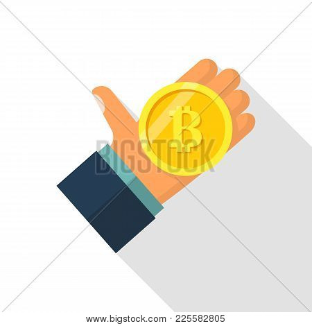 Bitcoin In Hand. Coin Hold In Hand. Mining Crypto Currency. Digital Money. Vector Illustration Flat