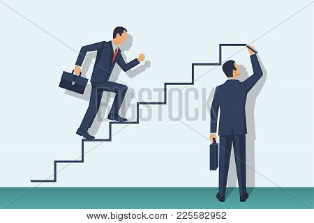 Businessman Is Climbing Career Ladder. Human Hand Drawing Stairs Close Up. Concept Of Business Devel