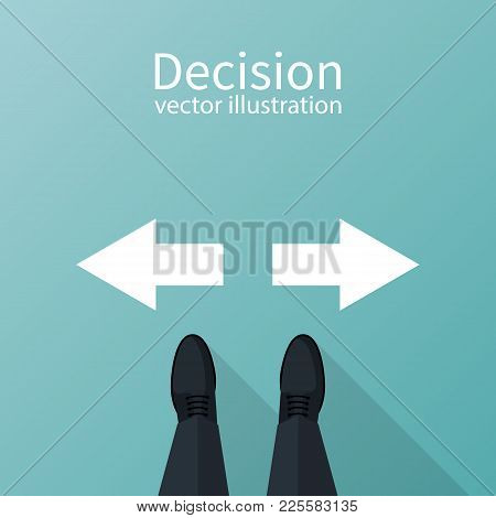 Decision Concept. Decide Direction, Arrows Right Left.  Businessman Standing Choice Of Ways. Defore