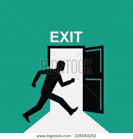 Sign Exit. Silhouette Man Runs Into Open Door. Symbol Pictogram Exit. Icon Evacuation. Vector Illust