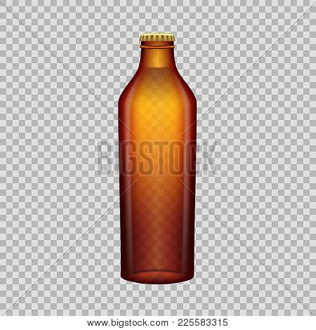 Realistic Template Of Empty Glass Beer Bottle With Screw Cap. Template, Breadboard, Glass Package, M