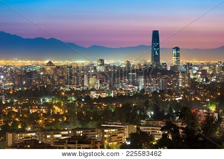 Panoramic View Of Santiago De Chile With The Wealthy Las Condes And Vitacura Districts