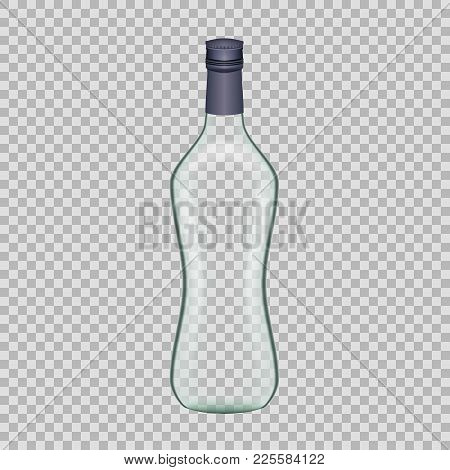 Realistic Template Of Empty Glass Vodka Bottle With Screw Cap. Template, Breadboard, Glass Package,
