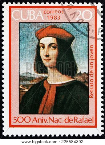 Cuba - Circa 1983: A Stamp Printed In Cuba Shows Portrait Of A Youth, Painting By Raphael, 500th Bir