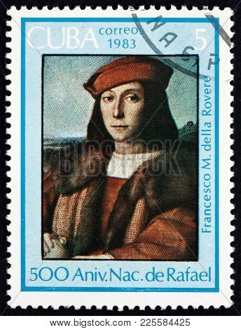 Cuba - Circa 1983: A Stamp Printed In Cuba Shows Portrait Of Francesco M. Della Rovere, Painting By