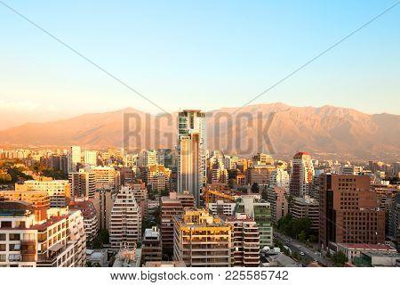 The Wealthy Neighborhood Of Isidora Goyenechea, With El Bosque Street And Los Andes Mountain Range I