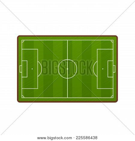 Realistic Football Field Template, Playground With Green Grass And Landscapes. Layout, Soccer Playin