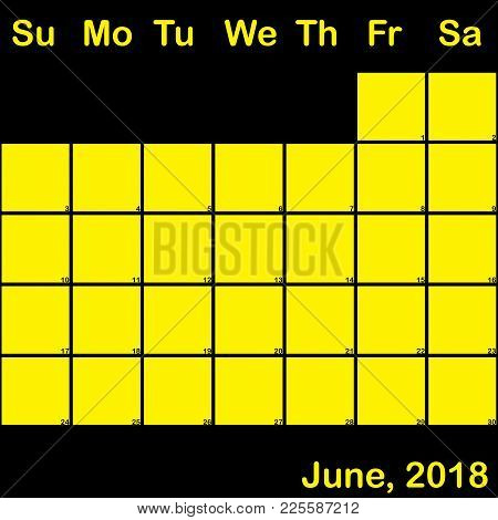 2018 June Yellow On Black Planner Calendar With Huge Space For Notes