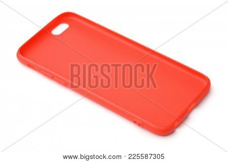 Empty red protective phone silicone case isolated on white