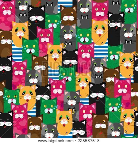 Vector Seamless Pattern Of Cute Colored Cats With Different Emotions