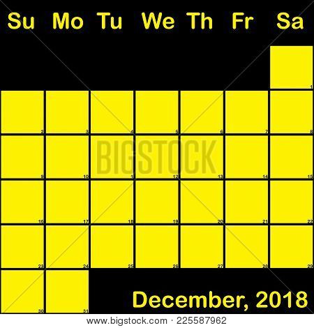 2018 December Yellow On Black Planner Calendar With Huge Space For Notes