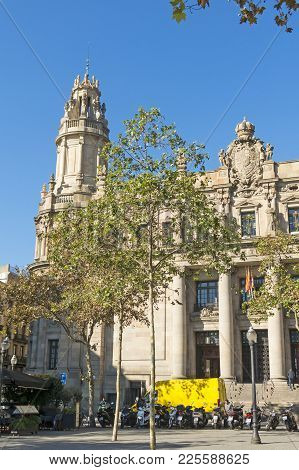 The Famous Central Post Office Building In The City Of Barcelona, Spain