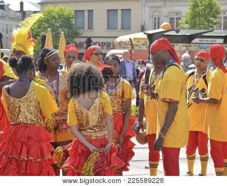 Le Mans, France - April 22, 2017: Festival Europe Jazz Caribbean Musicians And Dancers In The Costum