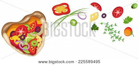 Pizza In The Shape Of Heart With Flying Vegetables. Vector Isolated Object On A Transparent Backgrou