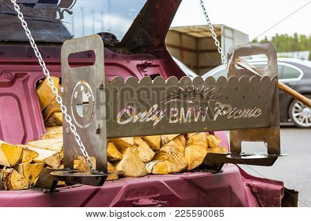 Saint-petersburg, Russia - September 16, 2017: Grill With Brazier And Firewood, Made On The Basis Of