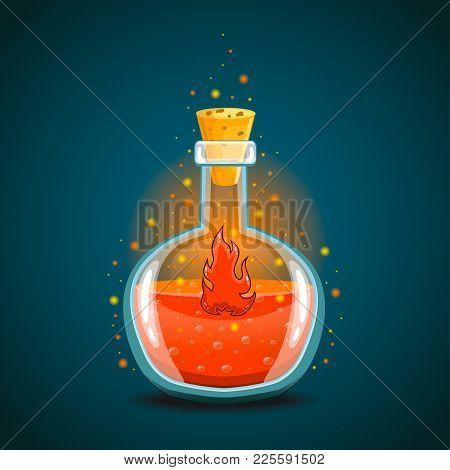 Bottle Of Magic Elixir With Flame. Game Design Illustration