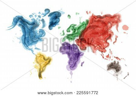 Watercolor Painting Design Of World Map And Continents ( Ecological Concept ) . Vector .